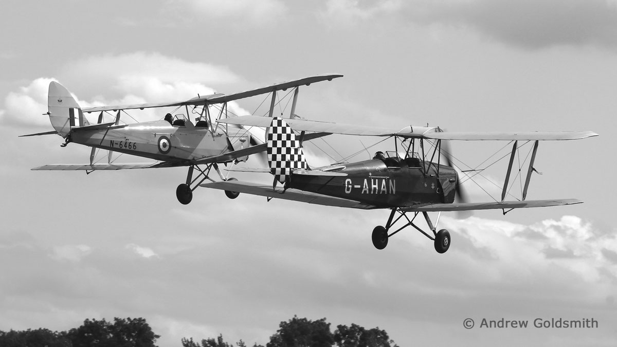 General Aviation & Executive Jets - DH.82A Tiger Moths  (G-AHAN & G-ANKZ (N6466)) by Andrew Goldsmith